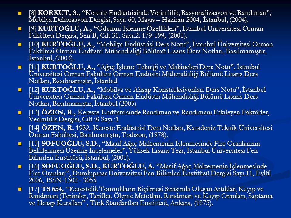 [8] KORKUT, S., Kereste Endüstrisinde Verimlilik, Rasyonalizasyon ve Randıman , Mobilya Dekorasyon Dergisi, Sayı: 60, Mayıs – Haziran 2004, İstanbul, (2004).